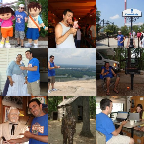 From Dora, Diego and Joyce, to the Colonel, Nicole and a bronze of Henry David, I emailed from all over - even atop Stone Mountain and with a turkey leg in my mouth
