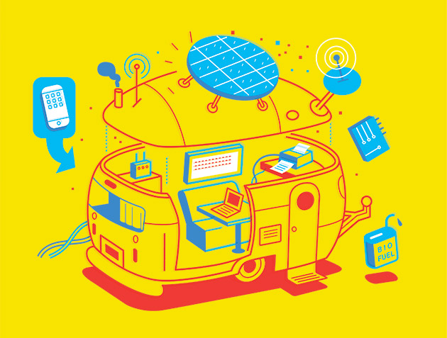 Wired Magazine takes a look at the Nomadic Geek's lifestyle -- when the desk is exchanged for the driver seat of an RV.